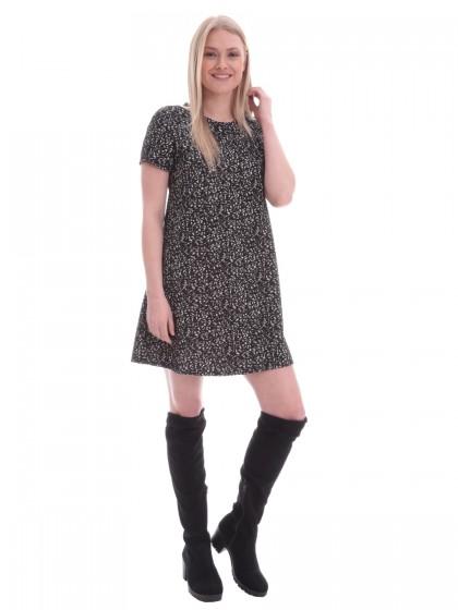 Φόρεμα ασπρόμαυρο κοντομάνικο
