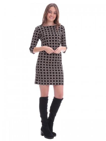 Φόρεμα ίσιο μαύρο με καμηλό