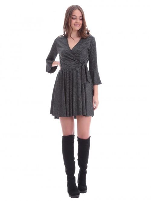 Φόρεμα κρουαζέ μαύρο lurex