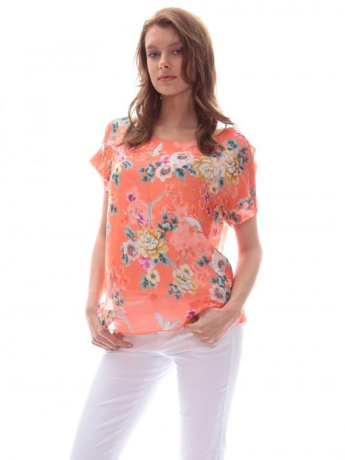 Μπλούζα μετάξι λουλούδια-πουλιά