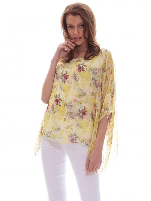 Τουνίκ κίτρινη μουσελίνα λουλούδια