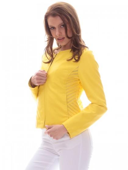 Μπουφάν κίτρινο δερματίνη