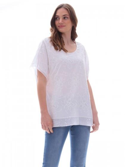 Μπλούζα λευκή κεντήματα