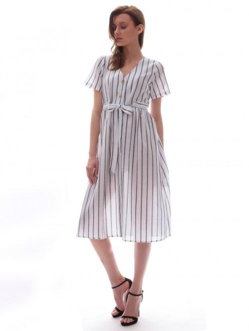 Φόρεμα ριγέ ζώνη-κουμπιά