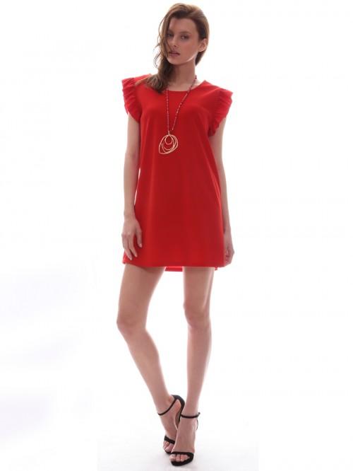 Φόρεμα μίνι βολάν μανίκια