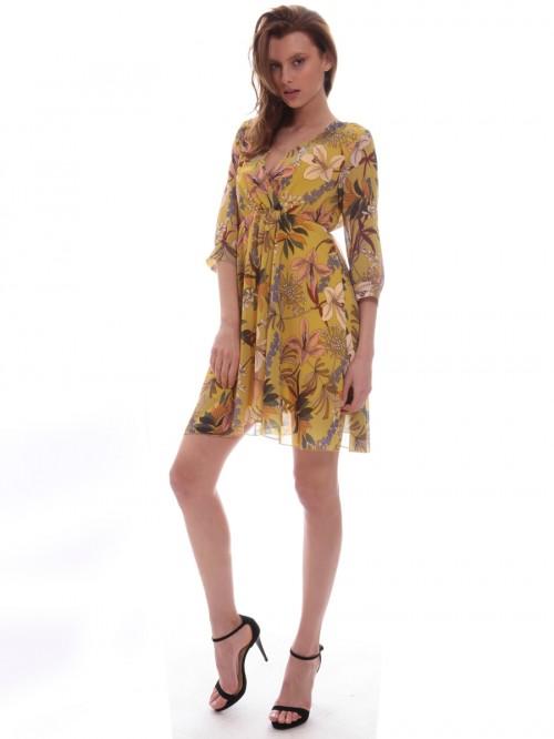 Φόρεμα κίτρινο λουλούδια
