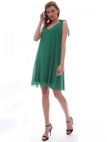 Φόρεμα μουσελίνα δέσιμο ώμος