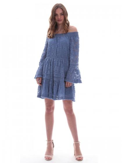 d7d1ac7488cb Φόρεμα δαντέλα βολάν Φόρεμα δαντέλα βολάν