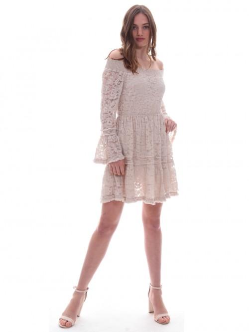 Φόρεμα δαντέλα βολάν