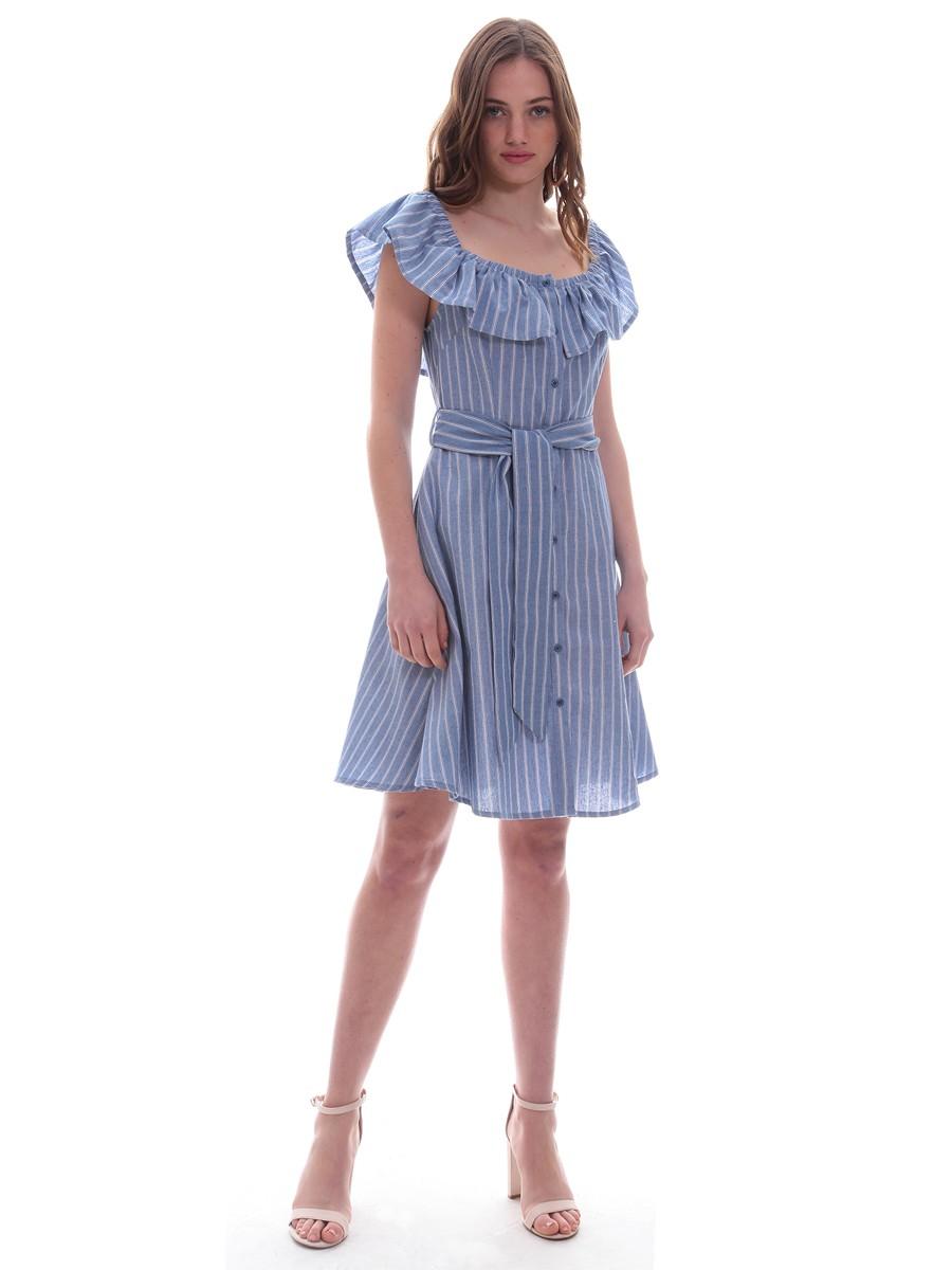 80aca49ebe1 Φόρεμα μπλε ριγέ βολάν