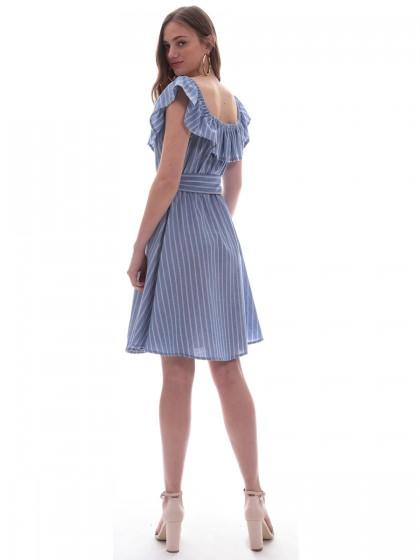 50c397f6b28d Φόρεμα μπλε ριγέ βολάν Φόρεμα μπλε ριγέ βολάν