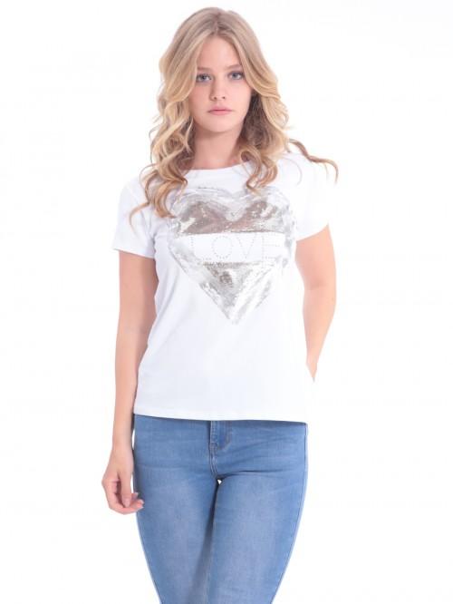 Τ-Shirt ασημί καρδιά