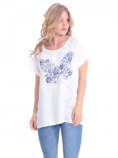 Μπλούζα λευκή λινή πεταλούδα
