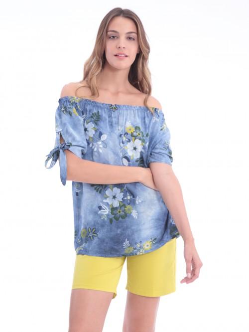 Μπλούζα λουλούδια δέσιμο μανίκια