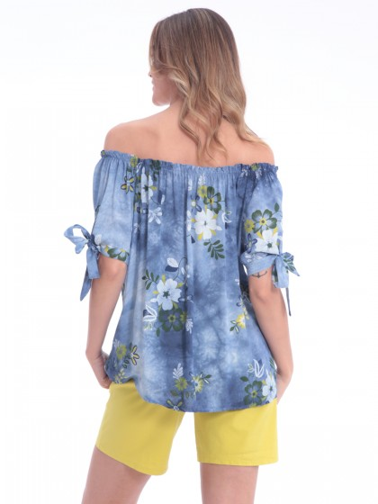 468013835ed Μπλούζα λουλούδια δέσιμο μανίκια Μπλούζα λουλούδια δέσιμο μανίκια