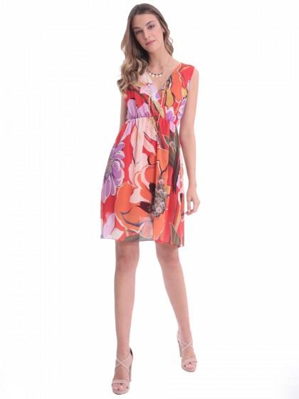 Φόρεμα εμπριμέ λάστιχο μέση