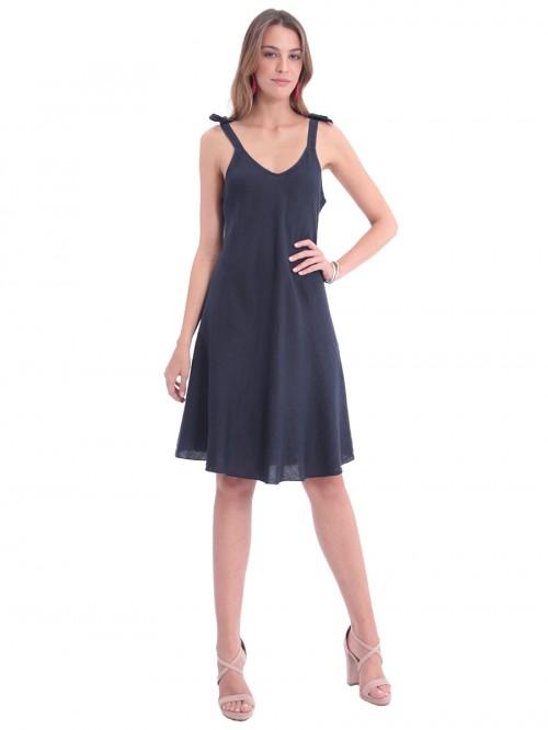 Φόρεμα λινό τιράντες φιόγκοι