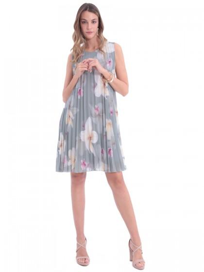 Φόρεμα πλισέ μεγάλα λουλούδια