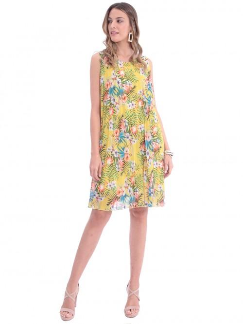 Φόρεμα πλισέ κίτρινο λουλούδια