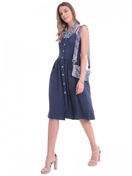 Φόρεμα μπλε τιράντες κουμπιά