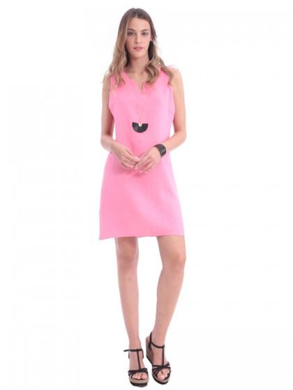 Φόρεμα Α λινό V ντεκολτέ