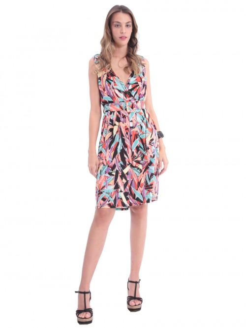 Φόρεμα ζώνη τυρκουάζ φύλλα