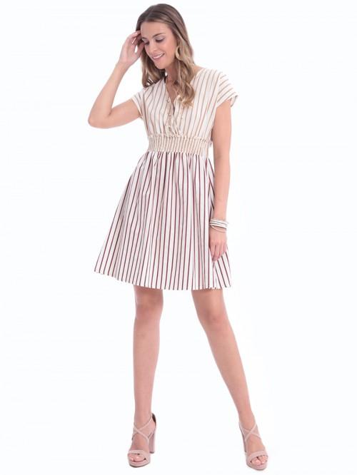 Φόρεμα μπεζ ριγέ λάστιχο