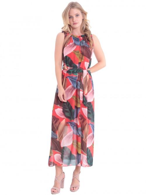 Φόρεμα μάξι φύλλα δέσιμο ώμος