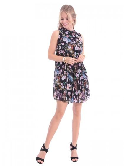 Φόρεμα πλισέ πεστός γιακάς