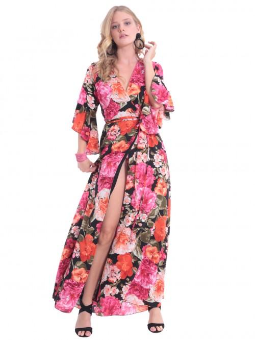 Φόρεμα μάξι κρουαζέ κορδόνι