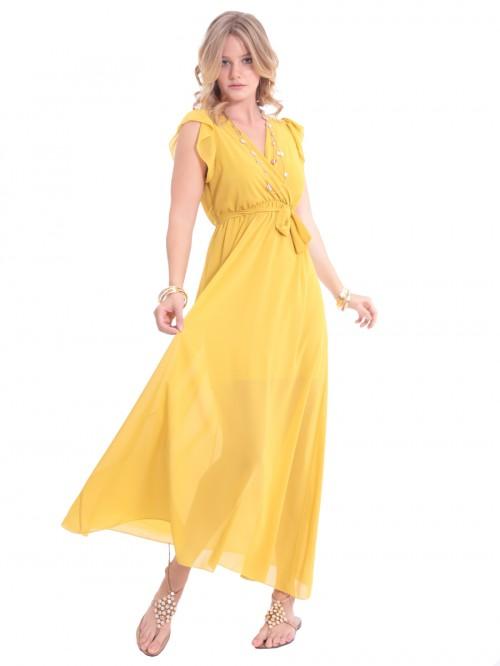 Φόρεμα αέρινο μάξι μουσελίνα