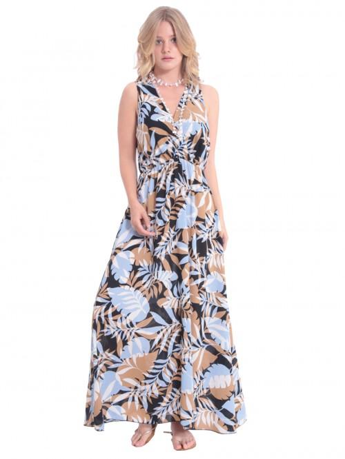 Φόρεμα μάξι σιελ-καμηλό