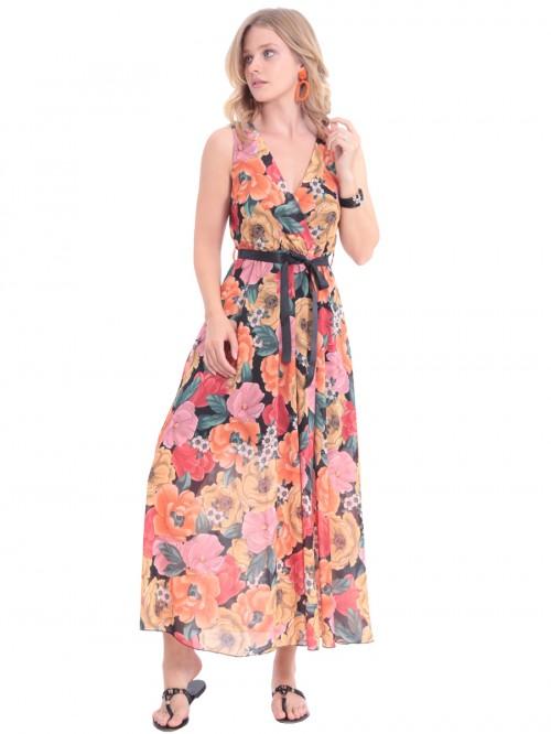 Φόρεμα μάξι πορτοκαλί λουλούδια