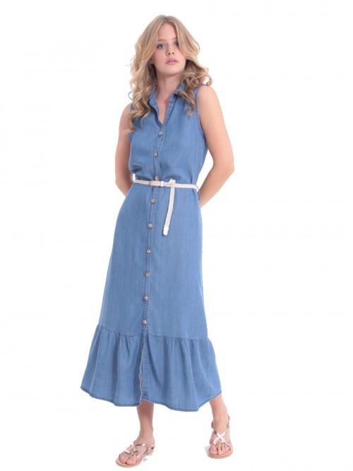Φόρεμα τζιν μάξι γιακάς κουμπιά