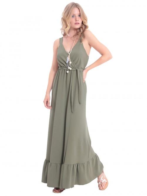 Φόρεμα μάξι χακί κρουαζέ