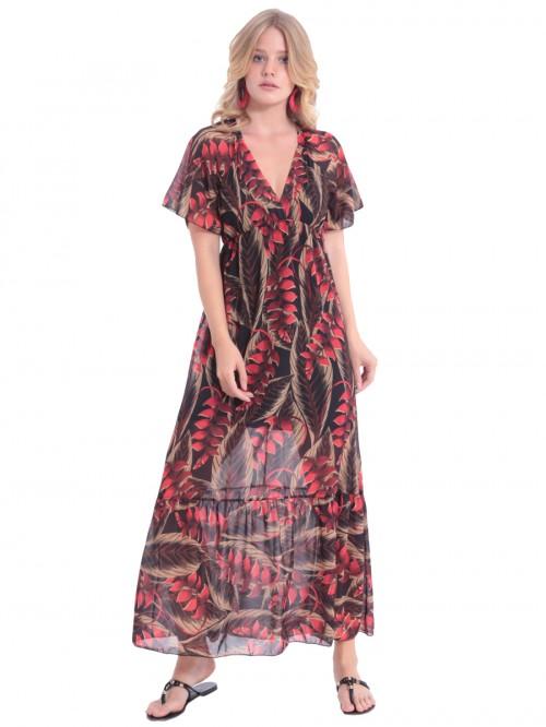 Φόρεμα μάξι V βολάν