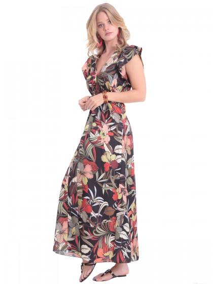 Φόρεμα μάξι εμπριμέ σατέν