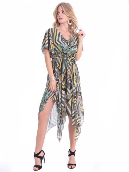 Φόρεμα V ασύμμετρο μουσελίνα εμπριμέ