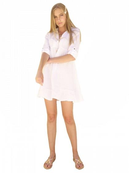 202e1ffbd7d Φόρεμα-πουκαμίσα λευκό λινό με γιακά