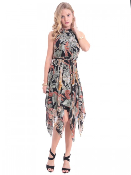 Φόρεμα ασύμμετρο φύλλα
