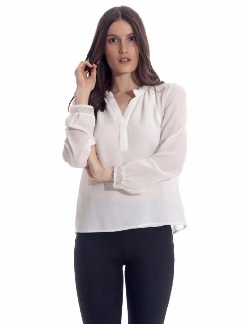 Μπλούζα κρεπ δαντέλα