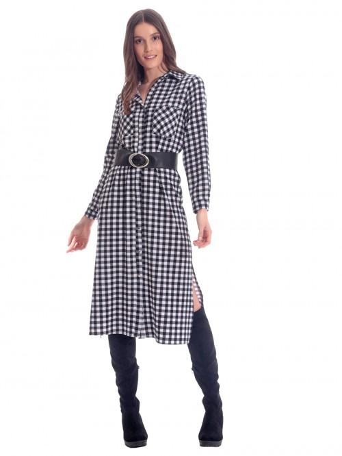 Φόρεμα καρό ασπρόμαυρο
