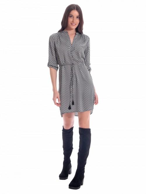 Φόρεμα ρόμβοι ζώνη κορδόνι
