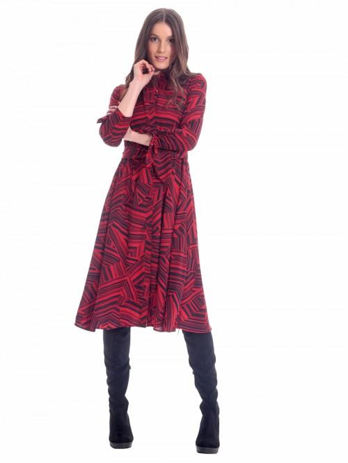 Φόρεμα μίντι ρίγες κόκκινο