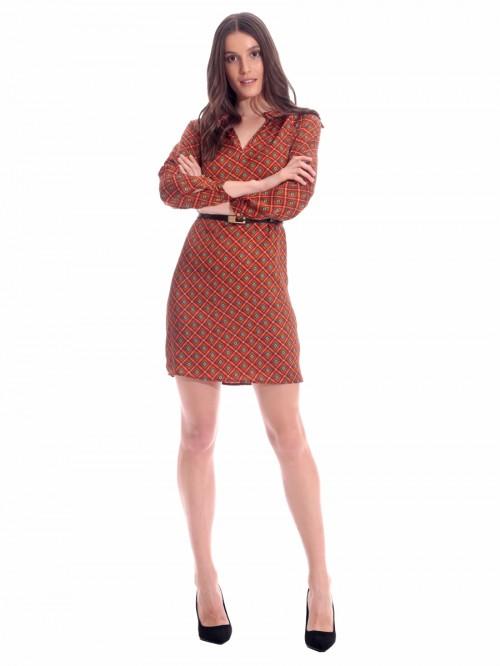 Φόρεμα ρόμβοι κυκλάκια σατινέ