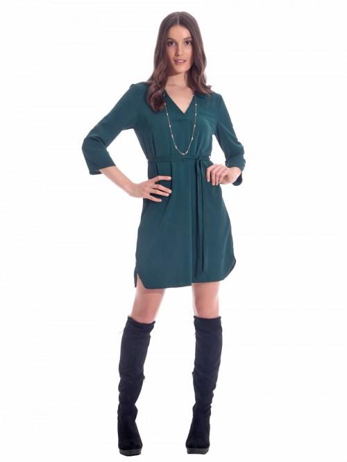 Φόρεμα κρεπ V ζώνη