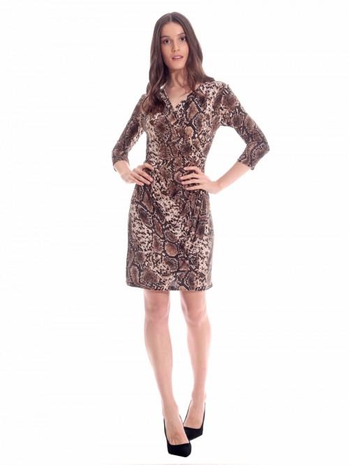 Φόρεμα λεοπάρ κρουαζέ ντραπέ