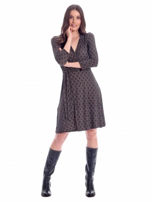 Φόρεμα ρόμβοι κρουαζέ δέσιμο