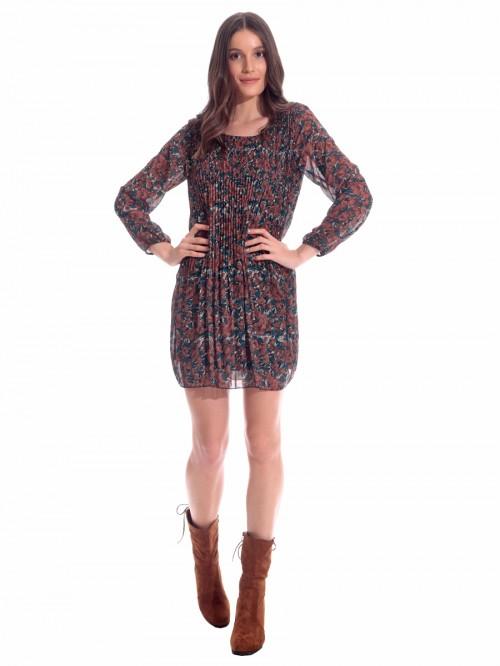 Φόρεμα εμπριμέ πλισέ μουσελίνα