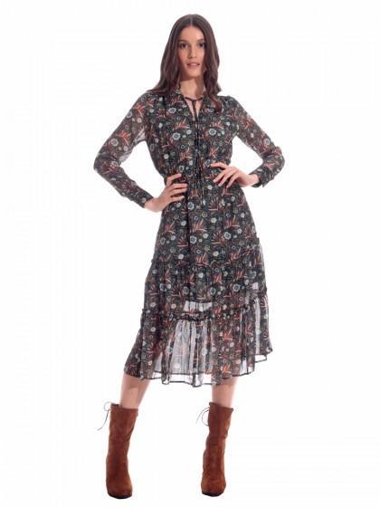 Φόρεμα μάξι εμπριμέ μουσελίνα